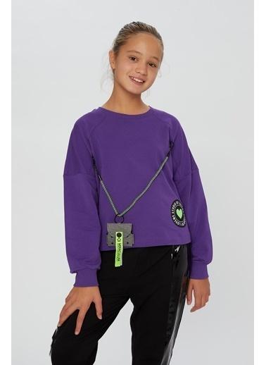 Little Star Little Star Kız Çocuk Askı Çantalı Sweatshirt Mor